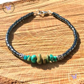 Hematite Bracelet With Turquoise Chips